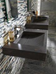 vente Savoie mosaique pierre verre et vasque pierre marron