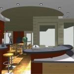 plan salon bar en 2D ou 3D avec intégration des luminaires