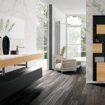 carrelage parquet, faïence grand format et meuble bois suspendu avec tablette pour vasque CRIS BTP