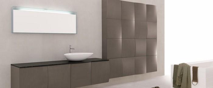 grand meuble salle de bains marron ou color forme arrondie - Meuble Salle De Bain Marron