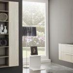 meuble salle de bains bois cérusé blanc et vasque en verre marron CRIS BTP