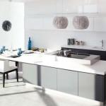 meubles cuisine grise avec plan de travail résine antibactérienne CRIS BTP