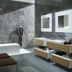 achat Savoie carrelage faience gris foncé avec profil déco doré et meuble doré